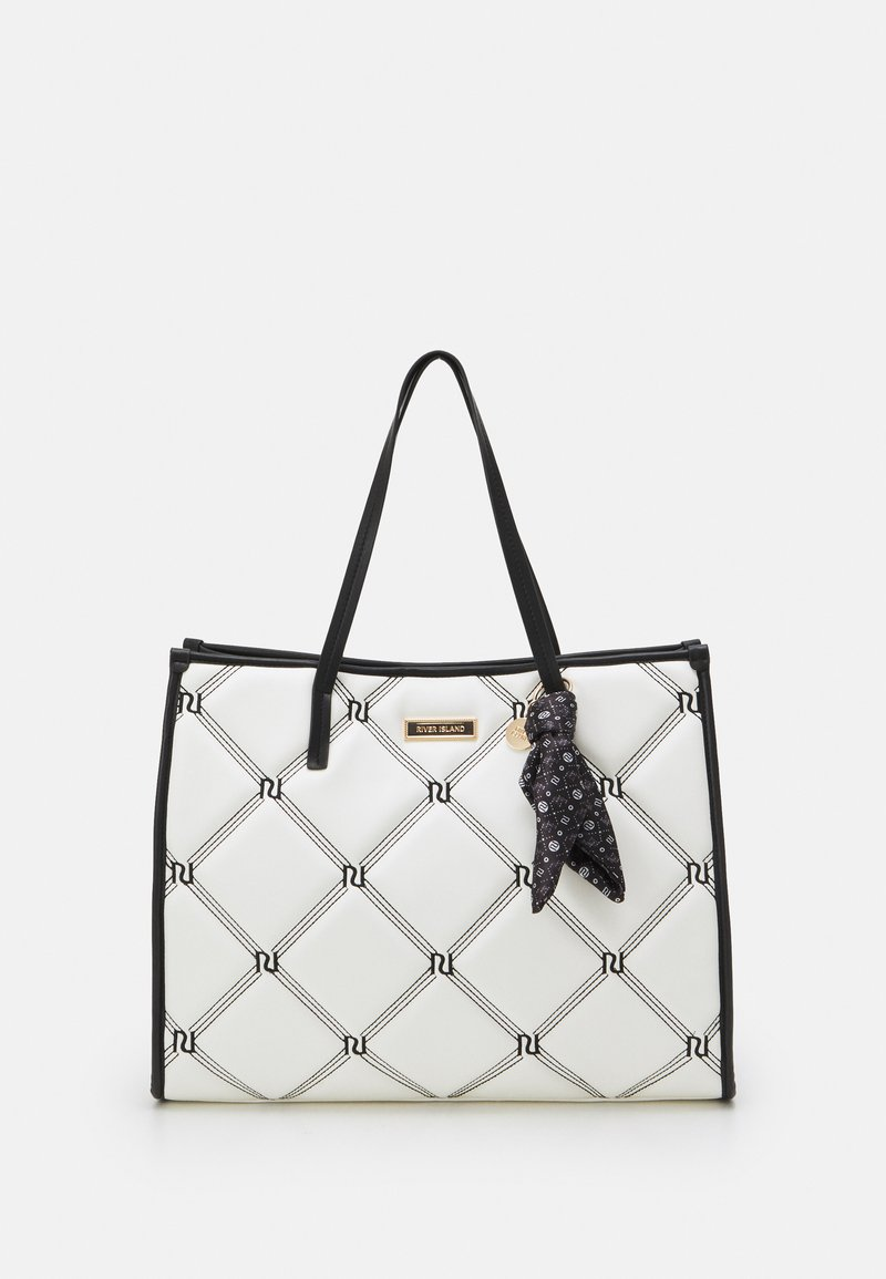 River Island - PADDED EMBROIDERED - Tote bag - white