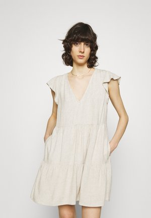 RUFFLE TRAPEZE SHORT DRESS - Day dress - flax