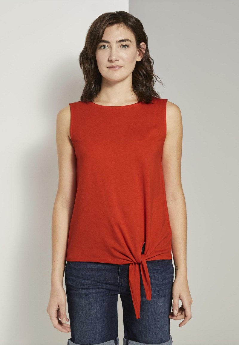 TOM TAILOR - MIT KNOTENDETAIL - Top - strong flame orange