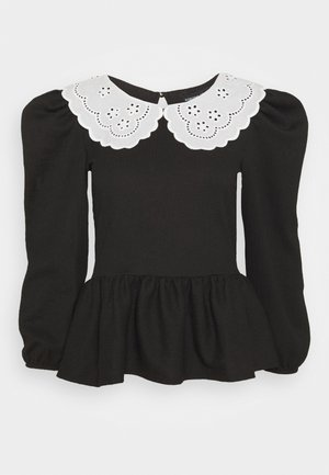 EMBROIDERED COLLAR TEXTURED - Blouse - black