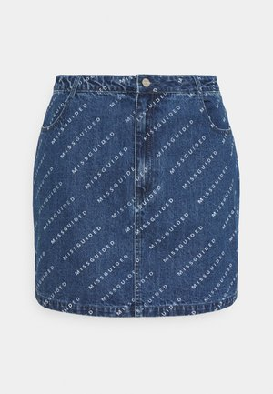 PRINT SKIRT - Mini skirt - blue
