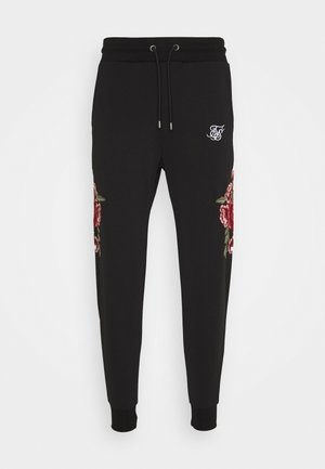 APPLIQUÉ PANELLED FITTED JOGGERS - Pantaloni sportivi - black
