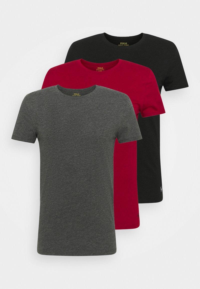 Polo Ralph Lauren - CREW 3 PACK - Pyjamapaita - black/charcoal/eaton red