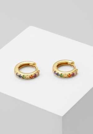 RAINBOW PAVE HUGGIE HOOP - Earrings - gold-coloured