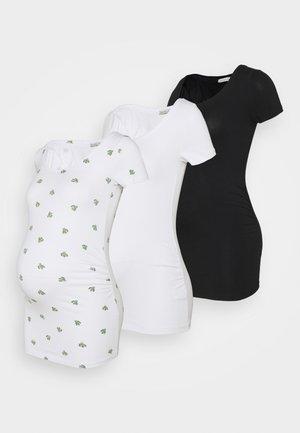 3 PACK  - Print T-shirt - black/white/white