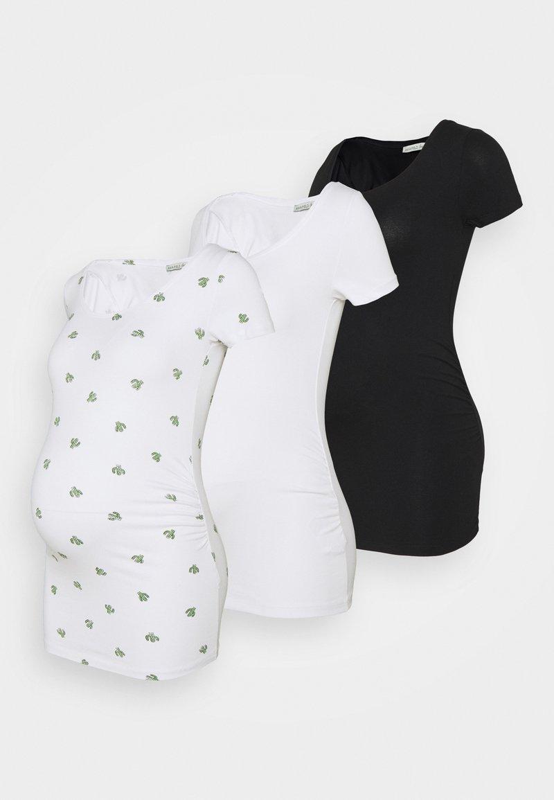 Anna Field MAMA - 3 PACK  - Print T-shirt - black/white/white