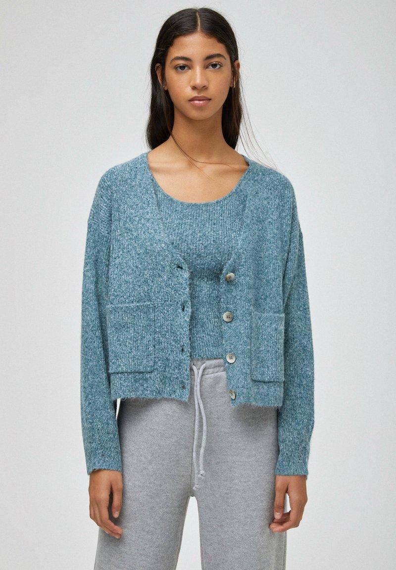 PULL&BEAR - Cardigan - mottled blue