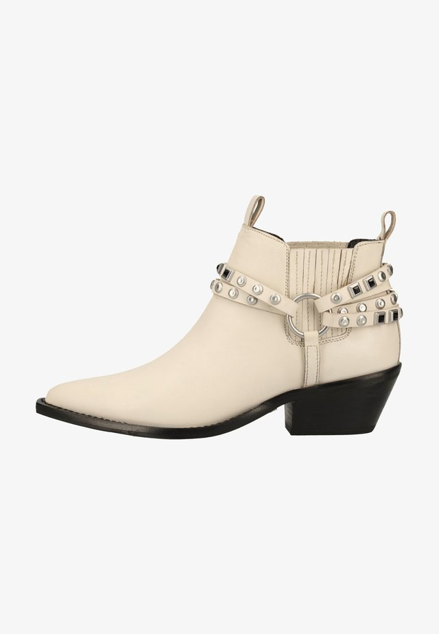 Cowboy/biker ankle boot - off white