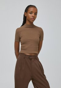 PULL&BEAR - Print T-shirt - dark brown - 0