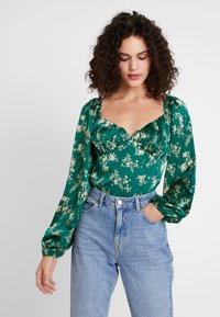 Missguided - FLORAL MILKMAID BODYSUIT - Blus - green - 0