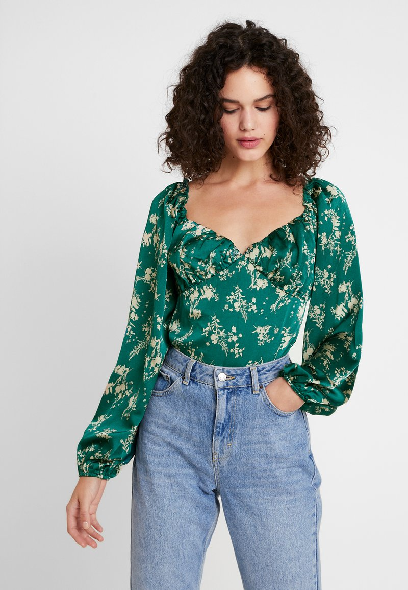 Missguided - FLORAL MILKMAID BODYSUIT - Blus - green