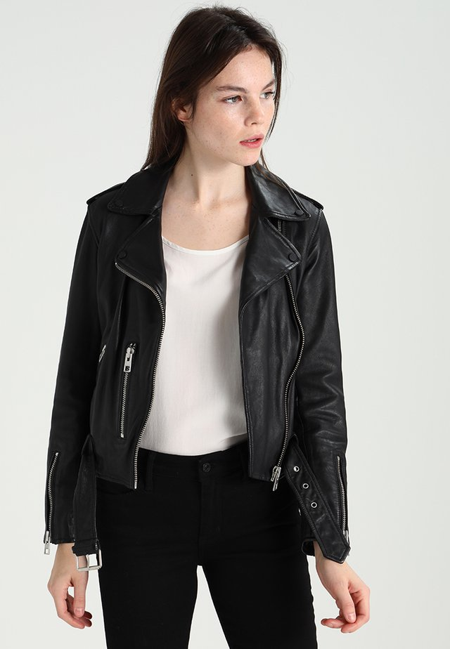 BALFERN BIKER - Leather jacket - black