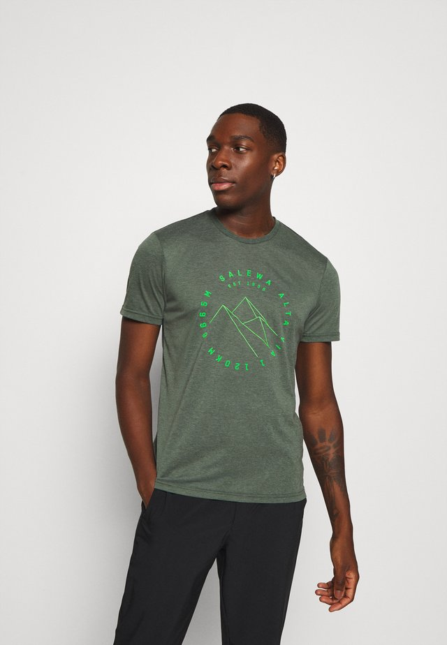 ALTA VIA DRY TEE - Camiseta estampada - deep forest melange