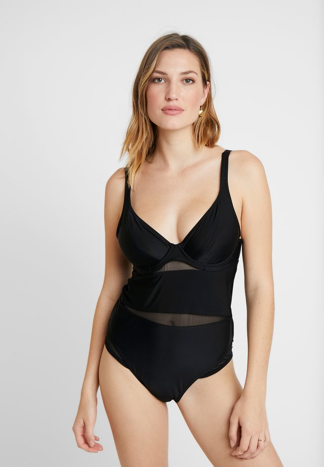 SHEER MESH PANELS CLASS PLUNGE SWIMSUIT - Badpak - black