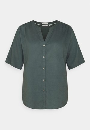 BLOUSE WITH OPEN COLLAR - Basic T-shirt - washed jasper green