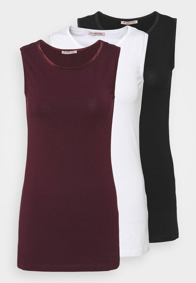 Anna Field - 3 PACK - Topper - black/white/dark red