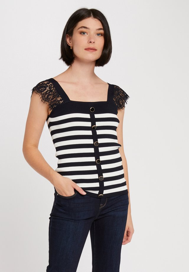 WITH STRIPES - T-shirt con stampa - dark blue