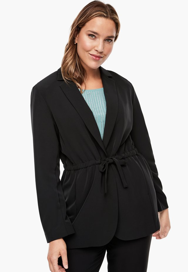 MIT BINDEGÜRTEL - Short coat - black