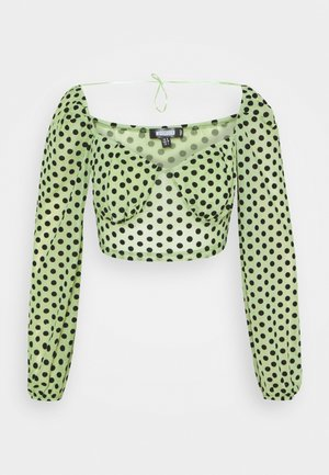 FLOCKED SPOT LONG SLEEVE CROP  - Blouse - mint