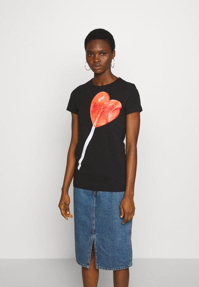 T-shirt print - black/red