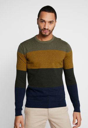 ONSALEX  BLOCKED CREW  NECK KNIT - Sweter - dried herb