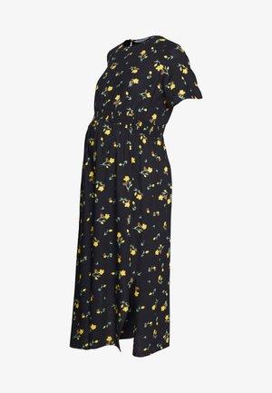 FLORAL SHIRRED WAIST MIDI DRESS - Vestido informal - sunshine yellow
