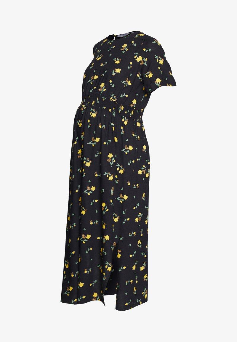 Dorothy Perkins Maternity - FLORAL SHIRRED WAIST MIDI DRESS - Sukienka letnia - sunshine yellow