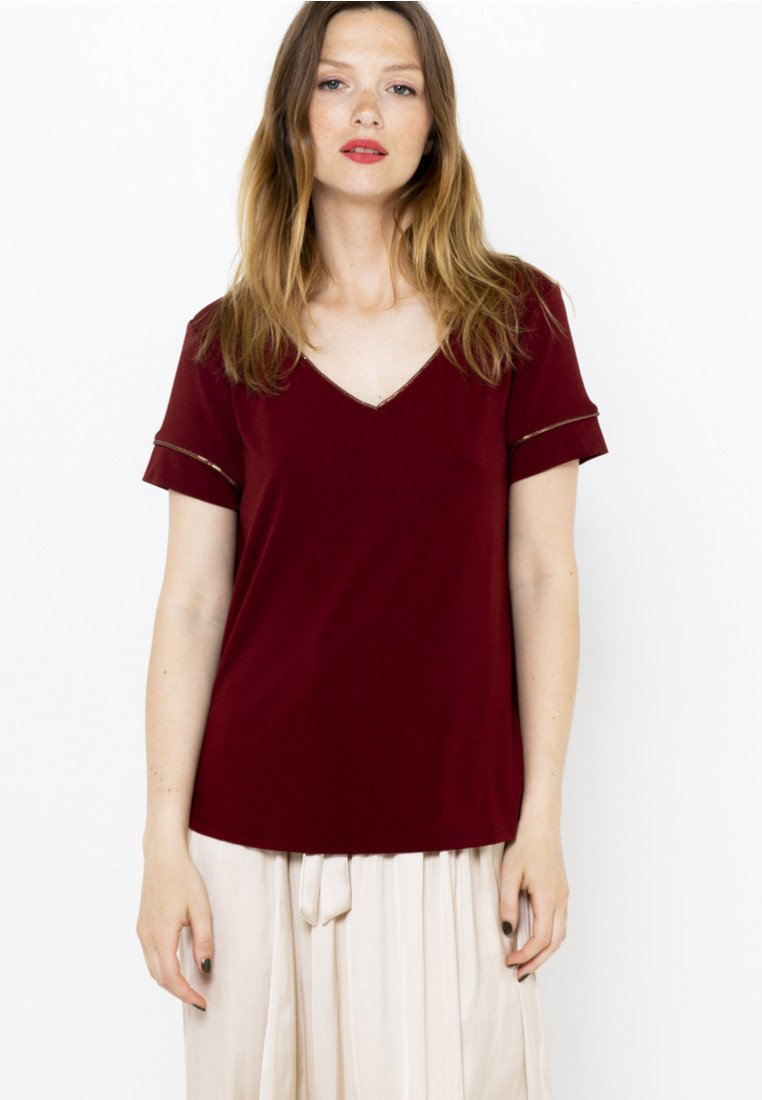 Camaïeu - COL V  - T-shirt basique - bordeaux