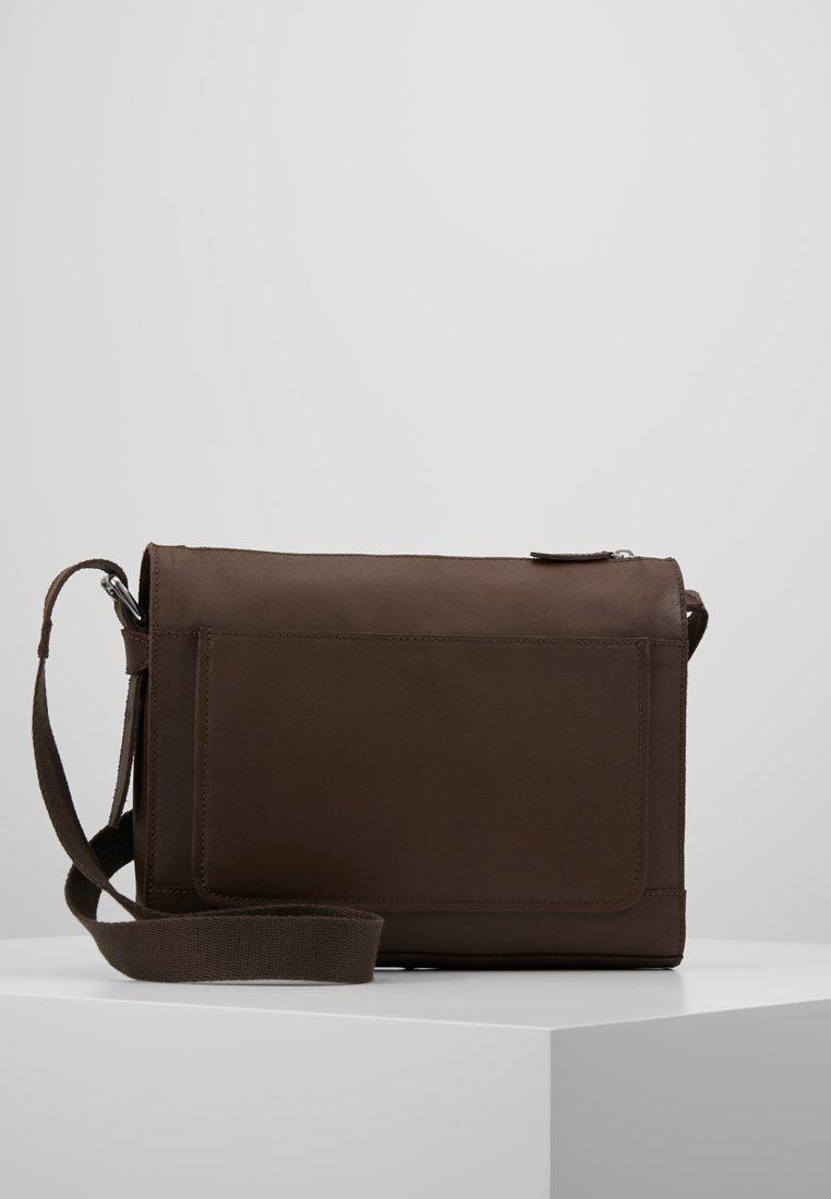 Pier One - LEATHER - Across body bag - dark brown