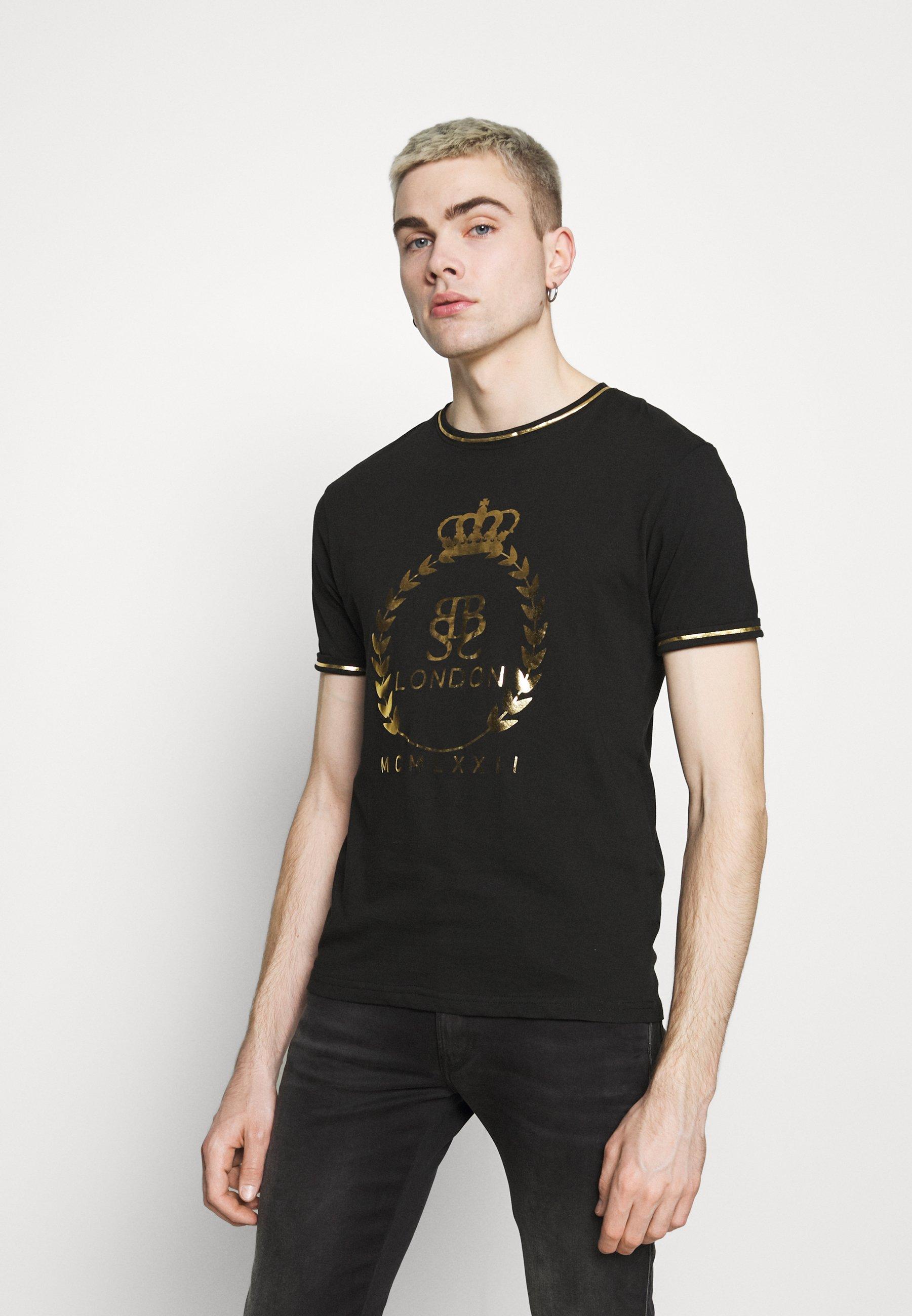 Men KING - Print T-shirt - jet black/gold foil/white