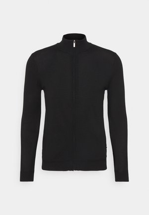 MERINO ZIP SWEATER - Cardigan - black