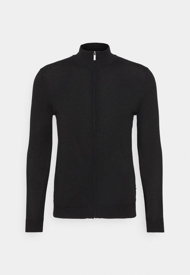 MERINO ZIP SWEATER - Vest - black