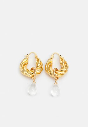 TWISTED DROP HOOPS - Earrings - gold-coloured