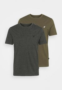 2 PACK - Basic T-shirt - grey/olive