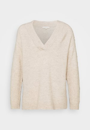 SRBETTY LOOSE DEEP V NECK - Jumper - whitecap gray