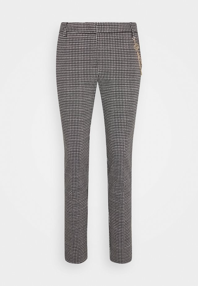 PANTALONE CIGARET - Trousers - black/white