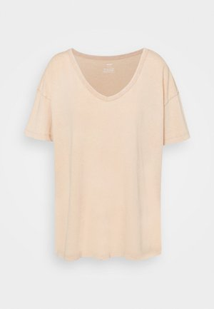 WEB ONLY  V NECK TEE - Jednoduché triko - natural nude