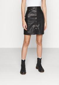 Vila - VIPEN BUTTON COATED SKIRT - Mini skirt - black - 0