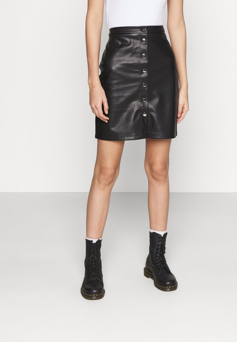 Vila - VIPEN BUTTON COATED SKIRT - Mini skirt - black
