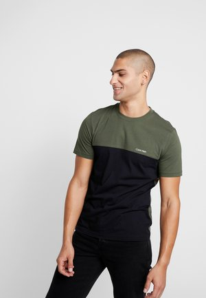COLOR BLOCK  - T-shirt z nadrukiem - black