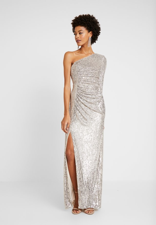 SEQUIN DRAPED GOWN - Abito da sera - silver