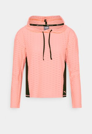 TRAIN FLAWLESS HOODIE - Kapuzenpullover - elektro peach