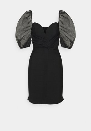 RUCHED MILKMAID BANDAGE DRESS - Cocktailjurk - black