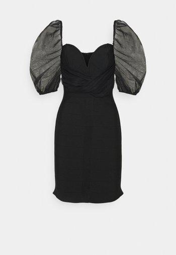 RUCHED MILKMAID BANDAGE DRESS - Cocktail dress / Party dress - black