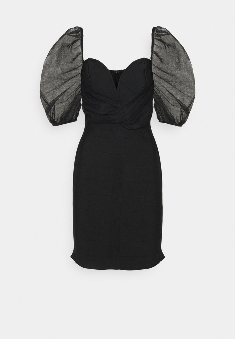 Missguided Tall - RUCHED MILKMAID BANDAGE DRESS - Robe de soirée - black