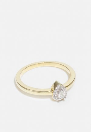 NATURAL DIAMOND RING 0.15CARAT HALO DROP DIAMOND RINGS 9KT YELLOW GOLD DIAMOND JEWELLERY GIFTS FOR WOMENS - Anello - gold