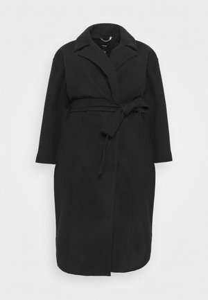BELTED WRAP COLLAR COAT - Abrigo - black