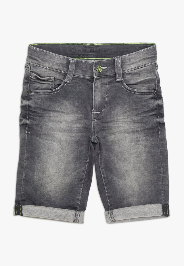 BERMUDA - Denim shorts - grey/black