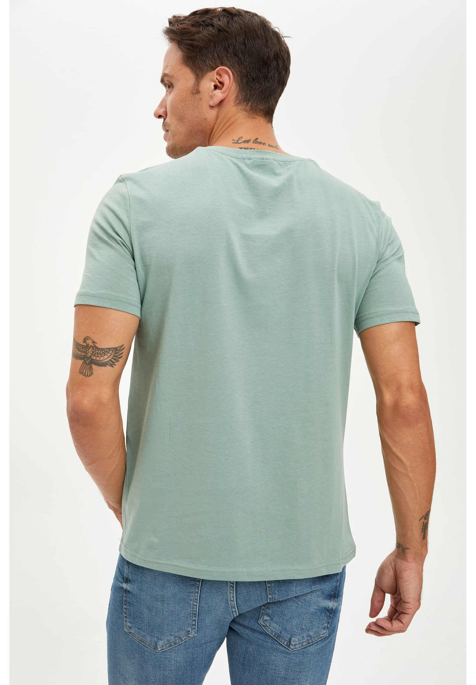 DeFacto Basic T-shirt - turquoise NDfZb