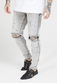 SIKSILK - BUST KNEE RIOT - Jeans Skinny Fit - washed grey - 4